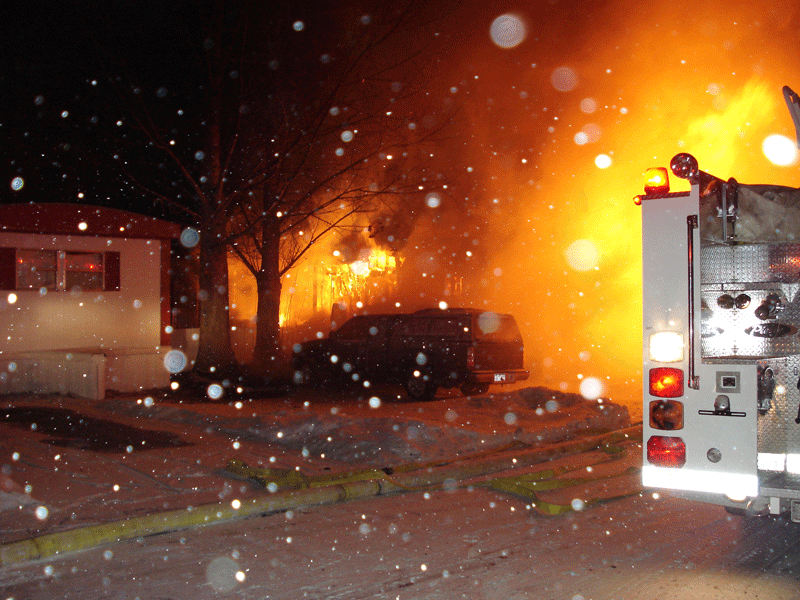 2007 mobile home fully involved. -10 degrees our with 12 inches of snow