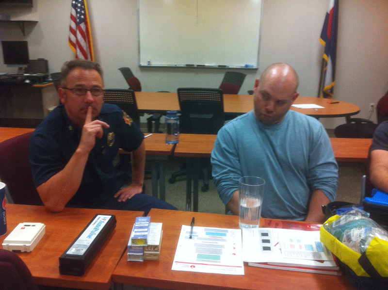 Deputy Chief Friedel and Chris Brown learning in ACLS class