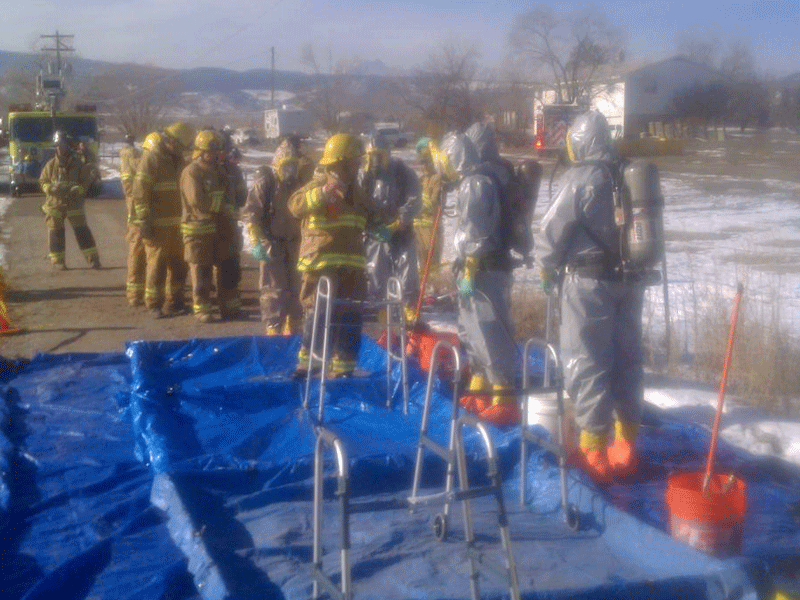 Crew getting set up on a Haz Mat call out