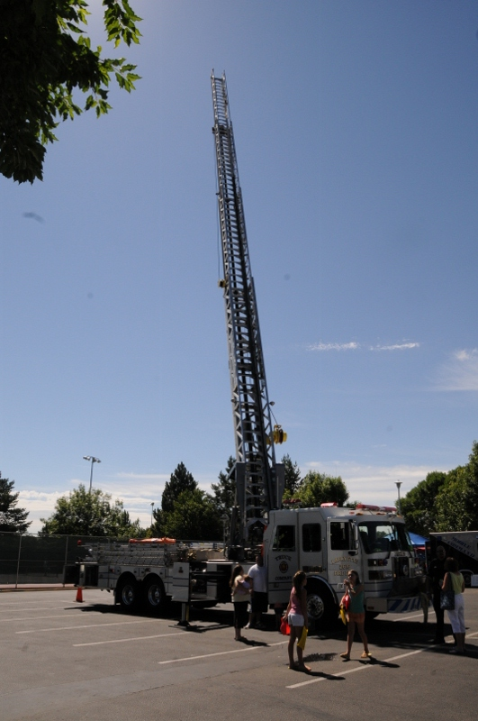 Truck 2617 staged with ladder fully extended 114 feet