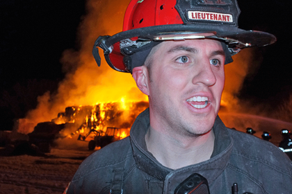 Lt. Chad Rennich on scene mutual aid with Mountain View fire on a barn fire 12/16/2011
