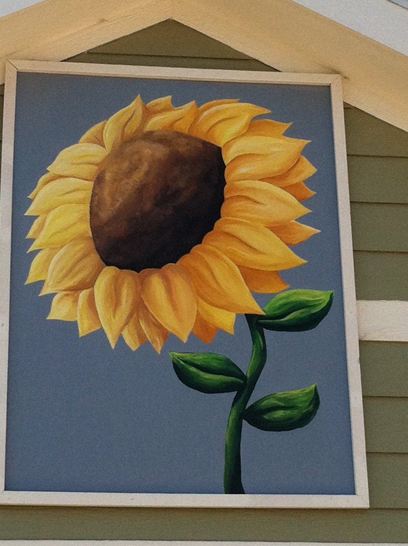 Yellow sunflower mural