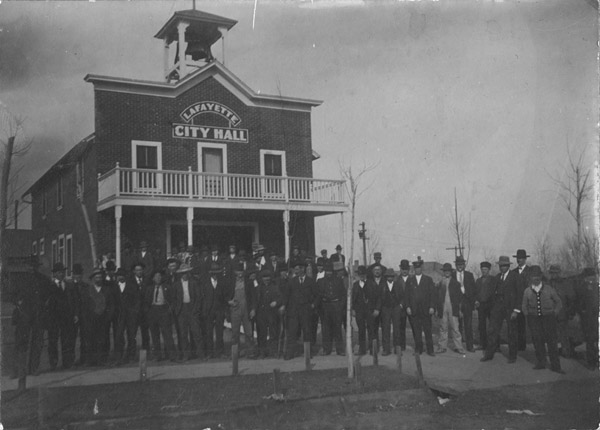Lafayette City Hall with fire department employees in front
