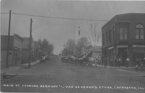 Main St. showing Bermont and Van Debergh's store, Lafayette, Colo.