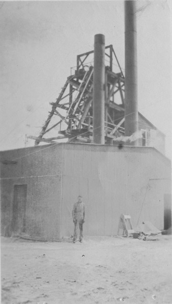 Mr. Barrett at Shamrock Mine, about 1918.