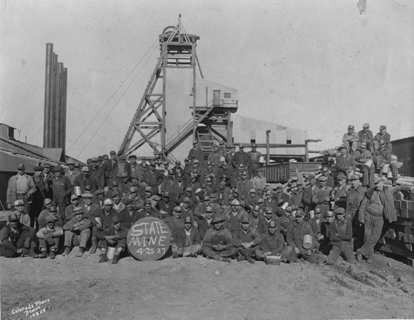 Miners in front of the tipple at the State mine, April 25, 1927