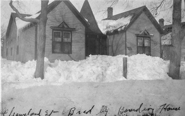 Bradley's boarding house on Cleveland Street, in the snow
