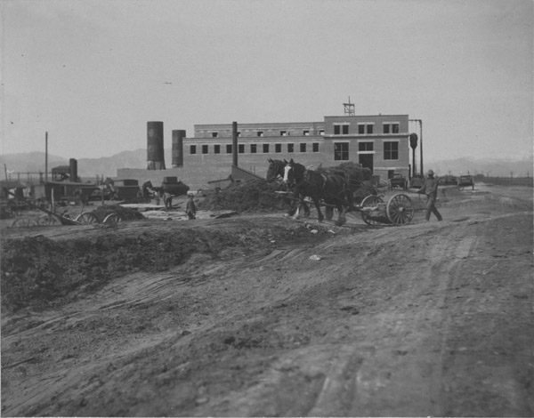 Lafayette power plant under construction, earth moving, 1906