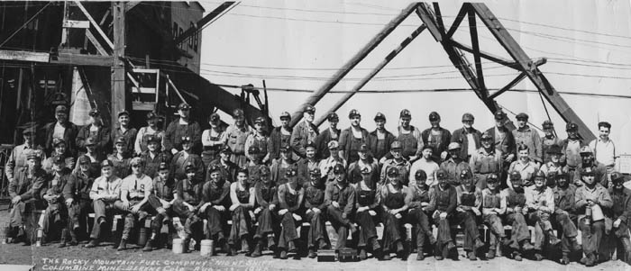 Miners, Rocky Mountain Fuel Company night shift at the Columbine Mine in Serene, Colo.