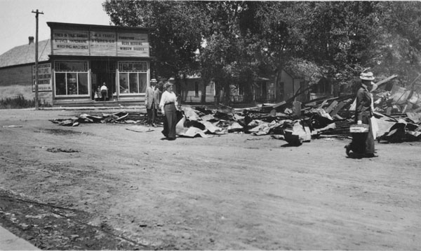 Rubble of the Frantz Store building after the fire of June 21, 1914
