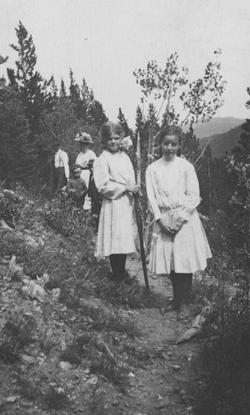 Two girls on a mountain trail