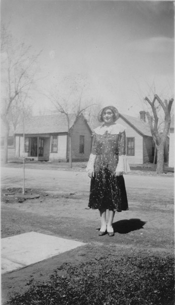 Agnes Farris standing on a Lafayette street