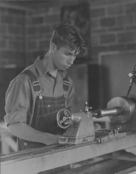 Lafayette vocational school, William Kellett, Jr., using a lathe