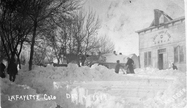 The U.M.W.A. Local no. 1388 union hall after the 1913 snowstorm