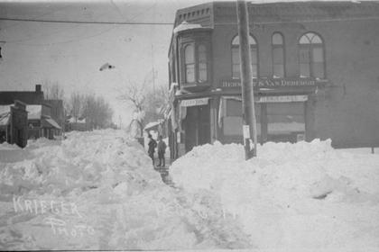 Bermont and Van Debergh's store with snow