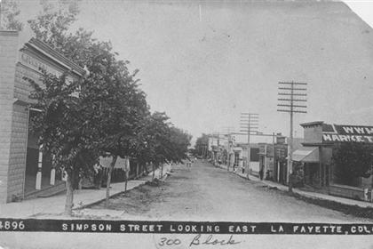 Simpson Street looking east, La Fayette [sic], Colo.
