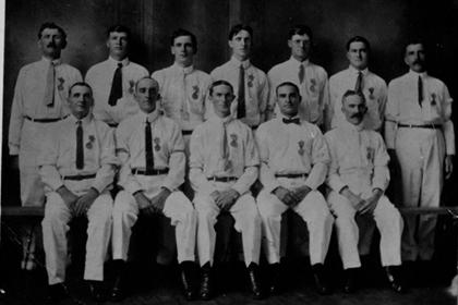 Fire department crew, formal portrait