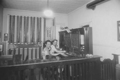 Jessie Irwin and Arlene Schofield at the telephone switchboard