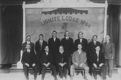 Group portrait of the members of the Knights of Pythias Lignite Lodge, number 64