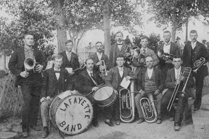 Lafayette Band, twelve members, brass instruments