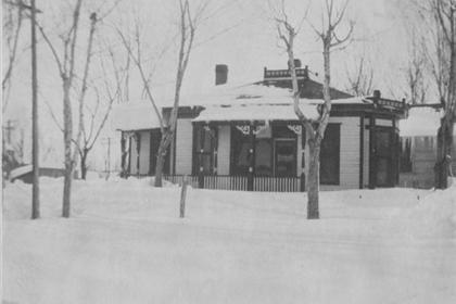 Wenberg-Peterson house at the corner of Gough and Simpson, after a snowstorm