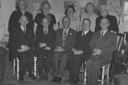 John and Julian Irwin's golden wedding reception, December 25, 1947, with four other couples celebrating fiftieth wedding anniversaries in 1947