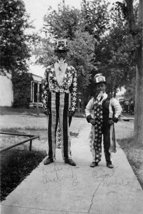 Sterling Autrey and Boots Noble in Uncle Sam costumes