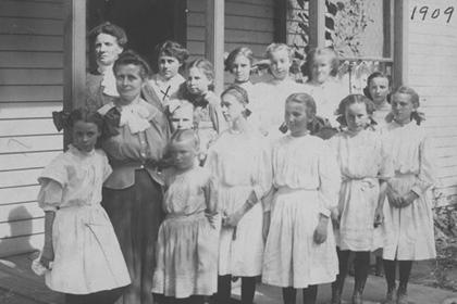 A group of girls from a Sunday school class