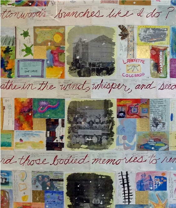 Story Quilt, created by Library staff and local youth, using the outdated card catalog