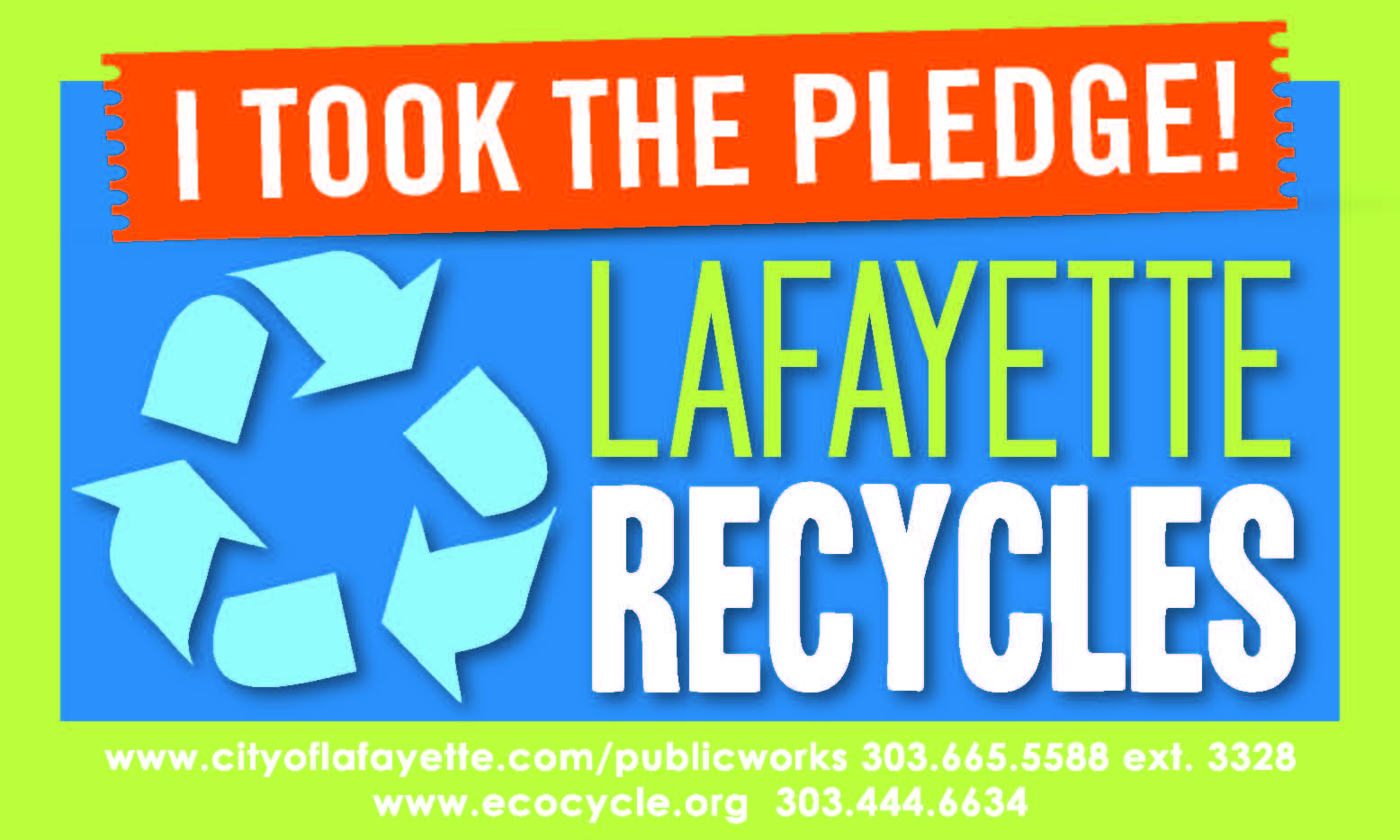 Lafayette Recycles Pledge Sticker
